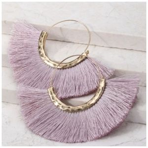 Lavender Hammered Gold Tassel Earrings